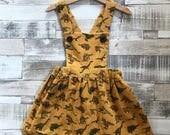 Dinosaur Dress - Girls Pinafore Dress - Girls Dungaree Dress - Yellow Corduroy Dress - Handmade Corduroy Pinafore - Baby Pinafore