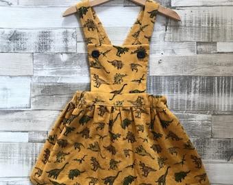 Girls Pinafore Dress - Dinosaur Dress - Girls Dungaree Dress - Yellow Corduroy Dress - Handmade Corduroy Pinafore - Baby Pinafore