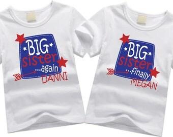 Personalized big sister shirts. Sibling shirt set. Big sister again, big sister finally. Custom sibling shirt SET OF 2. Colorful Big sisters