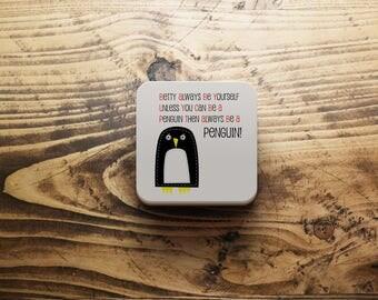 Penguin gift etsy penguin coaster personalised penguin coaster penguin gift custom penguin gift penguin birthday negle Images