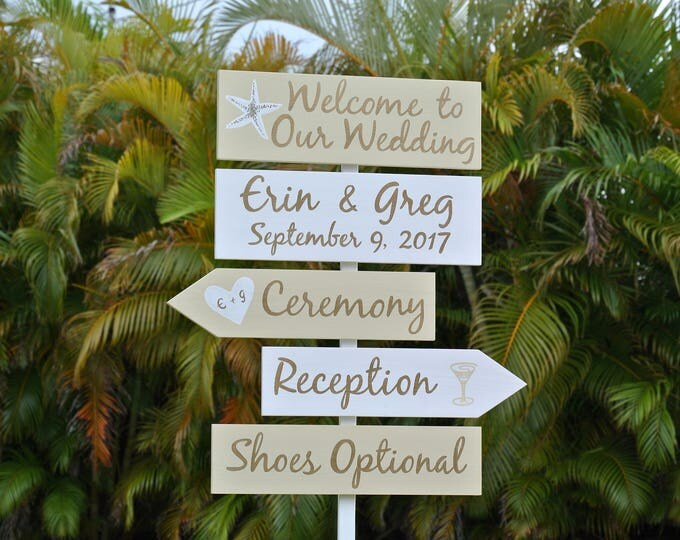 Beach Wedding Welcome Sign, Gold Wedding Decor, Shoes Optional Reception Sign
