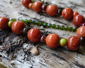 Fall Necklace, Orange Necklace, Green Necklace, Fall Leaves Necklace, Purple Necklace, Brown Necklace, Statement Necklace, Autumn Necklace