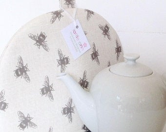 Tea Cosy, Bees Tea Cosy, Tea Cosy, Time for Tea, Kitchen Accessory, Bees, Linen Tea Cosy,
