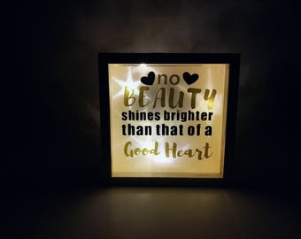 No beauty shines brighter than that of a good heart  little light box mini shadow box night light holographic paper quote shadow box gifts