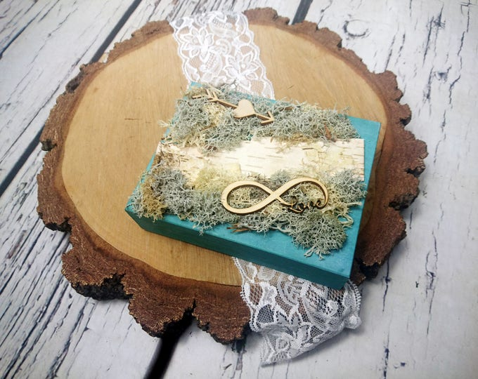 Moss and birch bark rings box for woodland wedding infinity sign love wood slices sola flowers ring bearer personalized writing natural