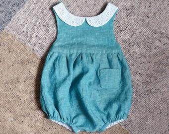 Baby Romper, Linen Romper, Linen Baby Romper, Baby Girl Romper, Peter Pan Collar, Newborn Romper, Turquoise Linen Romper, Baby Clothes
