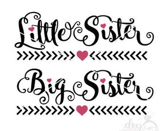 Little Sister Big Sister | Cut File - SVG DXF files | Silhouette | Cricut | Make a baby outfit & T-shirt | Cameo | Explore | Vinyl | htv