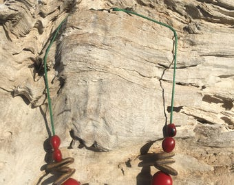 Red n' Brown Nut Necklace
