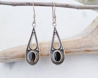 Sterling Silver Onyx Dangle Earrings, Sterling Onyx Jewelry, Sterling Silver Boho Earrings, Boho Jewelry, Sterling Teardrop Dangle Earrings