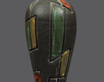 Mid Century Ceramic Italian Vase Brown Green Red Yellow Glaze MCM Modern Art Glass Cubist Cubism