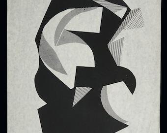 Sylvia Pollock Abstract Serigraph Print Geometric Art Vintage Silkscreen Screenprint Op Art Black & White
