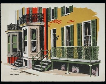 Mark Coomer Serigraph House New Orleans French Quarter Print Vintage Art Silkscreen Screenprint Silkscreen