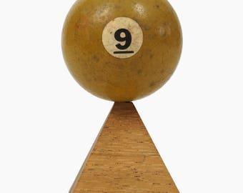 "No. 9 Pool Ball Miniature Clay Billiard Ball Size 1 5/8"" Yellow Nine IX Solid Solids"