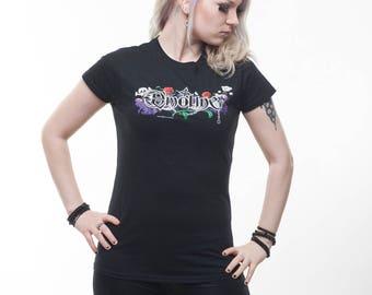 """Darktribe """"Emoline"""" Girly Shirt Gr. S & M black Women bear skull rose chain razor Emo"""