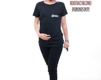 """Darktribe Anonline """" Fuck the System """" Girly Shirt Gr. S, M & L black Anonymous USA NATO Israel NWO resistance peace"""