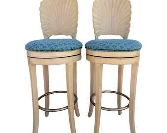 VVH Pair Of Vintage Venetian Grotto Style Carved Scalloped Shell Back Bar  Stools Wood Swivel Bar