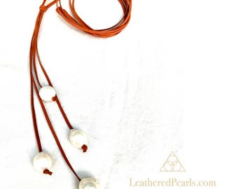 Baroque Freshwater Pearl and Leather Lariat