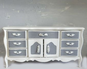 Large Jewelry Box - Musical - French Provincial - Jewelry Armoire - Jewelry Chest - White Jewelry Box - Gray - Upcycled - Gift for Her - Mom