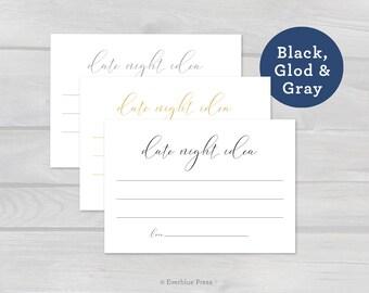 PDF Printable Date Night Card - Gold Gray Black | Instant Download | Wedding Date Night Ideas Jar Card | Wedding Advice Card | Bridal Party