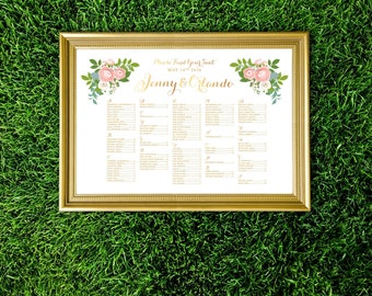 JENNY . Alphabetical Seating Chart Large Sign . White & Rose Gold Pink Ranunculus Dusty Miller Blue White Rose Garland Green Leaf . PRINTED