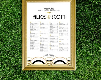 Great Gatsby Alphabetical Seating Chart Art Deco 1920s White & Black Tie Wedding Gold Copper Foil Large Printed Sign . The ALICE
