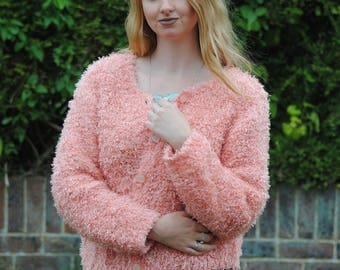90s Vintage Super Fluffy/Furry Button Up Cardigan
