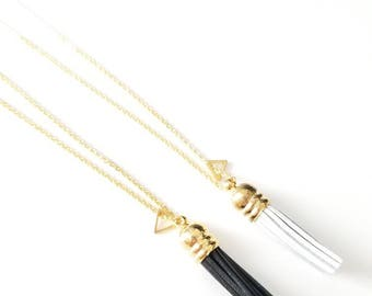 Leather Tassel + Triangle