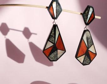 Vintage drop earrings, art decó earrings, 80s earrings, pendant, shell earrings, wood earrings, mid century, vtg clip on earrings