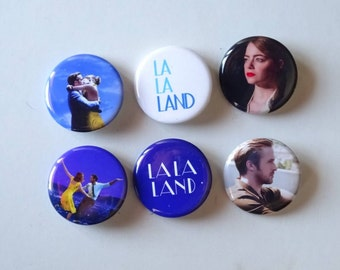 "1.25"" La La Land Pinback Pack Pins Buttons Badges Ryan Gosling Emma Stone"