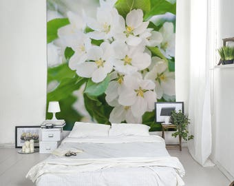 Wall hanging tapestry blossom of Apple Tree, Wall art decor, White flowers, Floral fabric wall tapestry, Large wall decor, Green art. UL103