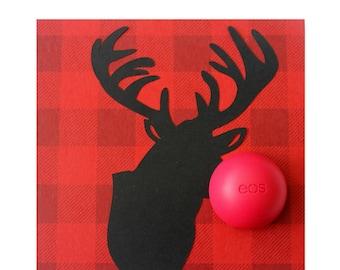 Plaid Reindeer Card • Lumberjack Christmas • EOS Lip Balm Holder • Merry Moosemas • Christmas Moose • Gifts Under 20 • Reindeer Antlers