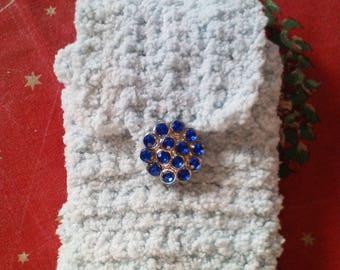 Padded pouch or case polar fleece, blue sky crochet hand made, Royal Blue rhinestone button