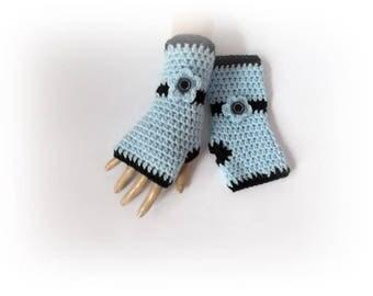 Crochet gloves Fingerless gloves Blue Crochet mittens Blue black Gift for her gloves Crochet fingerless gloves Wist warmers
