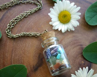 Chakra bottle Necklace,  chakra pendant, crystal necklace, rainbow, bottle chakra, Carnelian, Citrine,  Turquoise, Amethyst