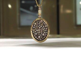 1.00 Carat Genuine Natural Chocolate & White Diamond Pendant in 14K Yellow Gold