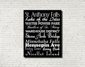 Minneapolis Neighborhoods Subway Sign - Typography Print - Modern Home Decor - Art Poster Wall Art Aged Vintage Finish