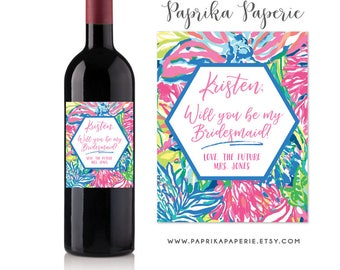 Bridesmaid proposal wine label, Lilly Pulitzer inspired, will you be my bridesmaid gift, bridesmaid proposal box, wedding party gift
