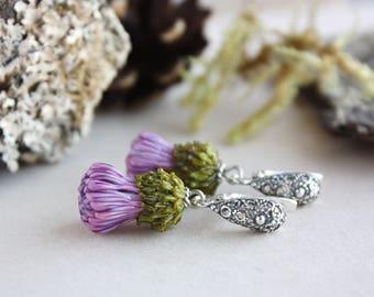 Lampwork thistle earrings with sterling silver, floral lampwork earrings, floral glass earrings, flower jewelry, purple earrings