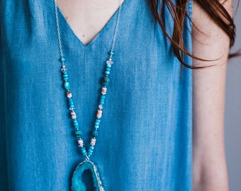 Silver Edged Turquoise Druzy Geode Necklace with beaded chain