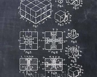 Rubik's Cube Patent Print Rubik's Cube Art Print