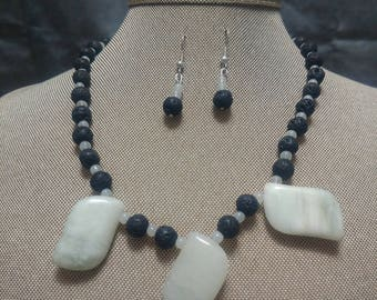Jade and Lava Stone Two Piece Set