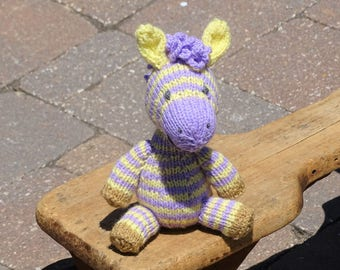 Zebra, Stuffed Zebra, Hand Knitted Zebra, Striped Toy, Knit Toy, Baby Gift, Made in USA, Ready to Ship, Stuffed Animal, Baby Toy, Purple Toy