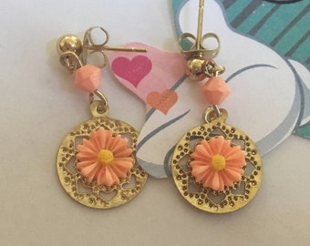Gold Earrings with Bright Flower, Post Earrings, Girls Jewelry, Childrens Jewelry, Gift For Girls, Earrings