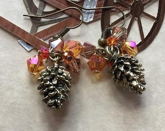 Fall Earrings, Fall Pine Cone Earrings, Fall Jewelry, Autumn Jewelry, Pine Cone Earrings, Jewelry, Gift For Her