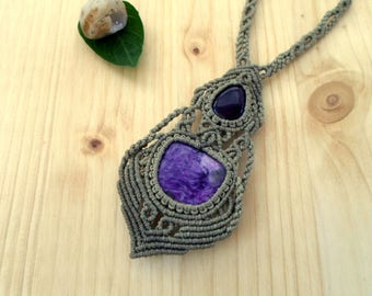 Charoite macrame necklace, macrame jewelry, amethyst necklace, macrame stone, gemstone necklace, charoite jewelry, hippie necklace