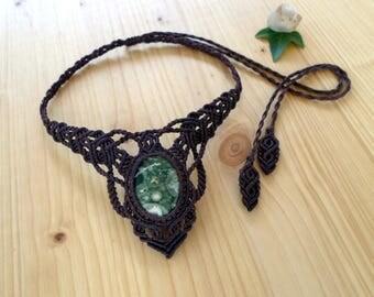 Rainforest jasper macrame necklace, macrame jewelry, rhyolite necklace, macrame stone, gemstone necklace, rhyolite jewelry, hippie necklace