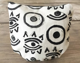 Eye Zipper Pouch - Hand Printed Zipper Bag - Black and White Pouch