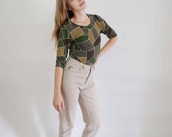 90s Green Grunge Patchwork Top