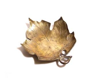 Vintage Brass Maple Leaf Dish - Business Card Holder - Office Decor