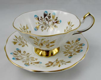 Queen Anne Tea Cup and Saucer with Gold Decor, Vintage Bone China
